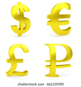 Curved golden money symbols rendered with soft shadows on white background