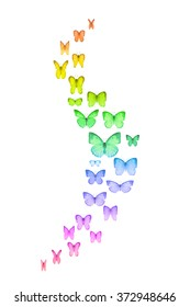 Curved group of rainbow colored butterflies with a emphasis on the wings movement, that are spreading at the center