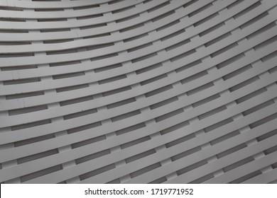 Arrière-plan intérieur grillage courbé, couches de bois peint, aspect horizontal
