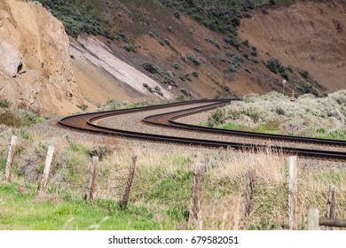 Curved Pair of Tracks in Mountains in British Columbia, Canada