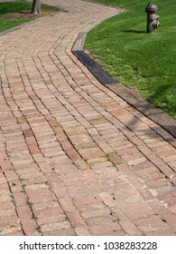 Curved pathway made of old brick
