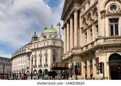 Curved Regent street with The County Fire Office of the Quadrant and the London Pavilion at Piccadilly Circus Westminster London, England - June 8, 2019