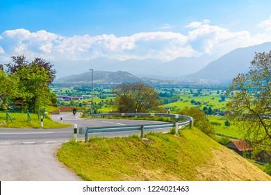 Curved road in Alps village, Grabs, Werdenberg, St Gallen Switzerland