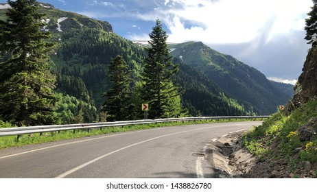 Curved Road In Awesome Nature Between Ardahan and Artvin Provinces of Turkey, Road Trip and Nature Tourism in Turkey