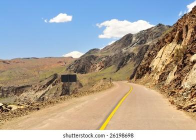 Curved road in western Argentina, provincia San Juan, near Cuesta de Huaco