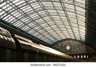 Curved roof and clock at St Pancras station - London, U.K. - December 2017