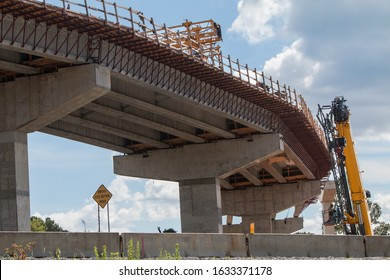 Curved section of bridge overpass under construction in metro Atlanta area
