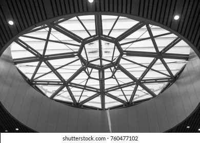 Curved Skylight Glass Roof or Ceiling of Dome with Geometric Structure Steel in Modern Contemporary Architecture Style as abstract Black and White architectural and industrial background or pattern