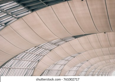Curved Skylight Glass Roof or Ceiling of Dome with Geometric Structure Steel in Modern Contemporary Architecture Style as abstract architectural and industrial background or pattern Vintage Toned