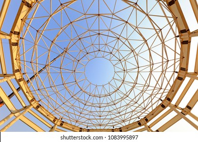 Curved steel constructed on a construction site
