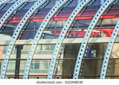 curved steel construction of a train station