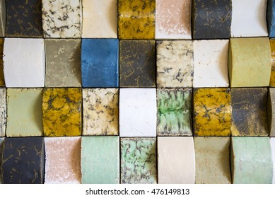 Curved stone and marble colored tiles for background