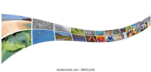 Curved stream of photos, isolated on white background