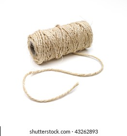 Curved thick string and  roll on white background with a soft shadow