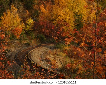 Curved train tracks in the autumn with bright orange, red, yellow and green colors