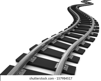 Curved train tracks on white background. 3D illustration.