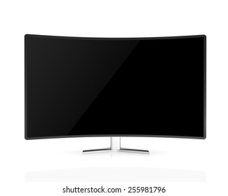 curved tv with black  screen  isolated on white background