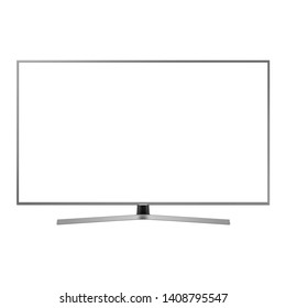 Curved TV Monitor Isolated on White. Black Slim Design Ultra HD 55 Inches LED Gaming Computer Monitor with Blank Anti-Glare Display Front View. Brand New Modern Widescreen Flat LCD Screen