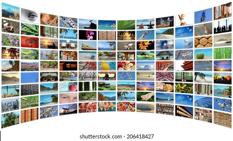 Curved wall of images, isolated on white background
