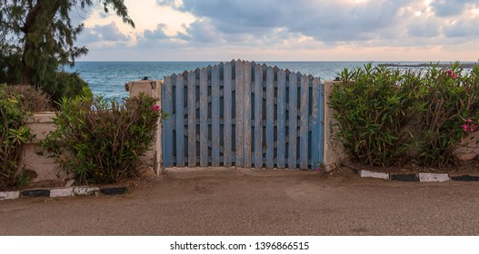 Curved weathered blue wooden garden gate with green bushes at both sides and background of calm sea and partly cloudy sky at sunrise time, Montaza public park, Alexandria, Egypt