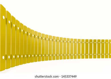 Curved yellow fence, perspective view, rendered model