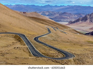 The curves of road in the mountain, Tibet