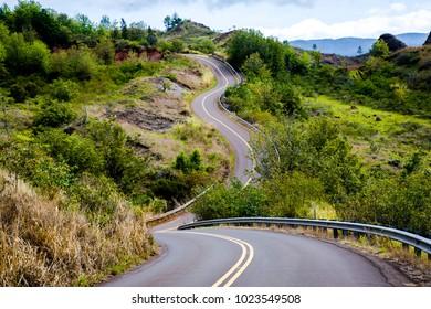 A curvey section of the Wasmea canyon road on the island of kauai, Hawaii.