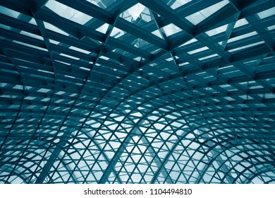 Curvilinear grid structures. Metal framework with structural glazing. Double exposure photo of modern architecture fragment. Abstract architectural or industrial background in hi-tech style.
