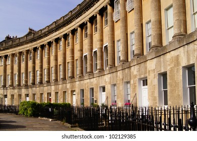 Curving houses of the Royal Crescent in Bath, England