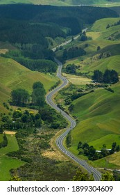 curving road through the hills