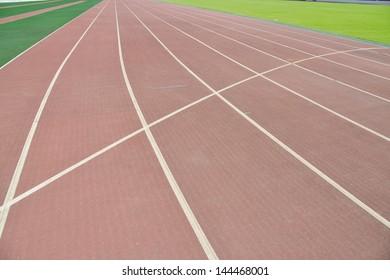 Curving runways in a sport stadium.
