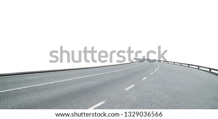 Curvy asphalt road isolated on white background with clipping path.