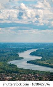 Curvy Danube River in Hungary