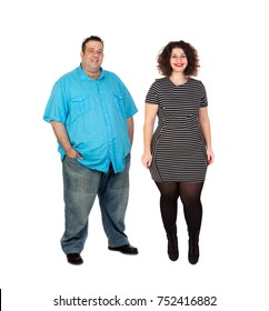 Curvy girl and obese man isolated on a white background