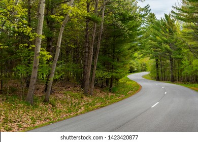 Curvy Loop Road through the Acadia National Park. Scenic drives of New England.