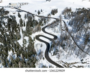 Curvy road like a hair pin at the beginning of Maloja pass in the Swiss Alps, Canton Grison, Switzerland