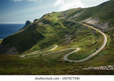 a curvy road on island Vaeroy in Lofoten