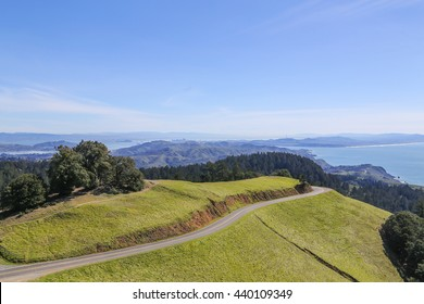 Curvy roads of Mountain Tamalpais in Marin County. Breathtaking panorama from Mount Tamalpais's 2,571-foot peak includes Farallon Islands, the Marin County hills, San Francisco Bay, and the East Bay.