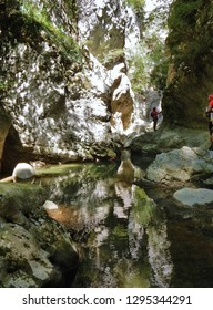 Cusano Mutri, Benevento, Campania, Italy - August 27, 2016: Hikers along the way Adventure of Caccaviola Gorges