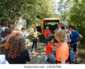 Cusano Mutri, Benevento, Campania, Italy - August 27, 2016: Group of hikers during the preparation stages before tackling the adventure course of Caccaviola Gorges