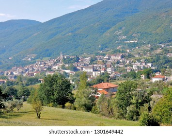Cusano Mutri, Benevento, Campania, Italy - August 27, 2016: view of the town situated on the slopes of Mount Mutria