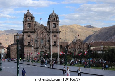 Cusco, Huatanay Valley, Peru - July 23, 2015: Plaza de Armas with tourists in a sunny day.