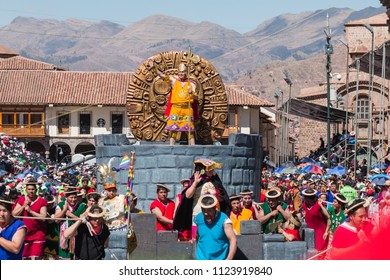 Cusco, Perú, June, 23th 2018. Inti Raymi Festival in Plaza de Armas, Cusco, Perú.