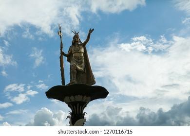 Cusco Main Square Statue of the Inca emperor