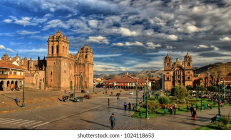 Cusco / Peru - 10 15 2013 - main square (Plaza de Armas) with both cathedrals