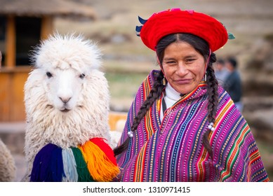 Cusco, Peru - 13 October 2018: View of woman in colorful national clothing and white shaggy lama with decoration in Sacsayhuaman