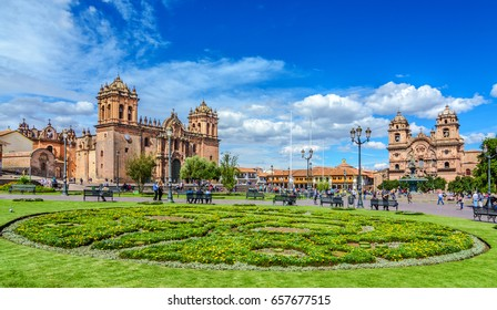 CUSCO, PERU - 25 APRIL 2017: Cusco, Peru - Plaza de Armas and Church of the Society of Jesus