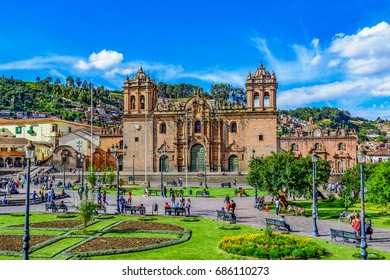 CUSCO, PERU - 25 APRIL 2017: Cathedral church in Plaza de Armas, Cusco, Peru, South America