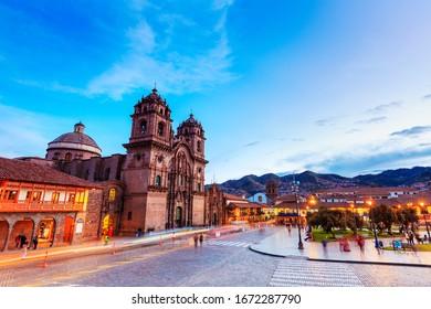 CUSCO, PERU -APR 12, 2017: Twilight at the Iglesia de la Compania de Jesus (Church of the Society of Jesus), a historic Jesuit church at Plaza de Armas in Cusco, Peru.