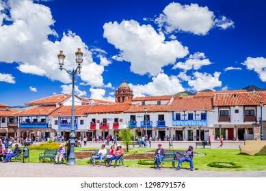Cusco, Peru - April 2017: Plaza de Armas, medieval Cuzco city (former capital of Inca Empire), Andes Mountains, South America.